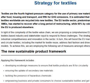 EU Sustainable Textiles Strategy